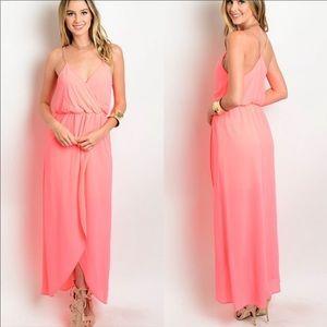 Dresses & Skirts - Coral pink hi low maxi dress